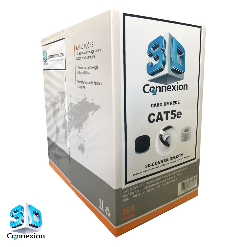 Caixa Cabo de Rede CAT5e 305m 8x24AWG trançado - Preto (3DRJ1462)