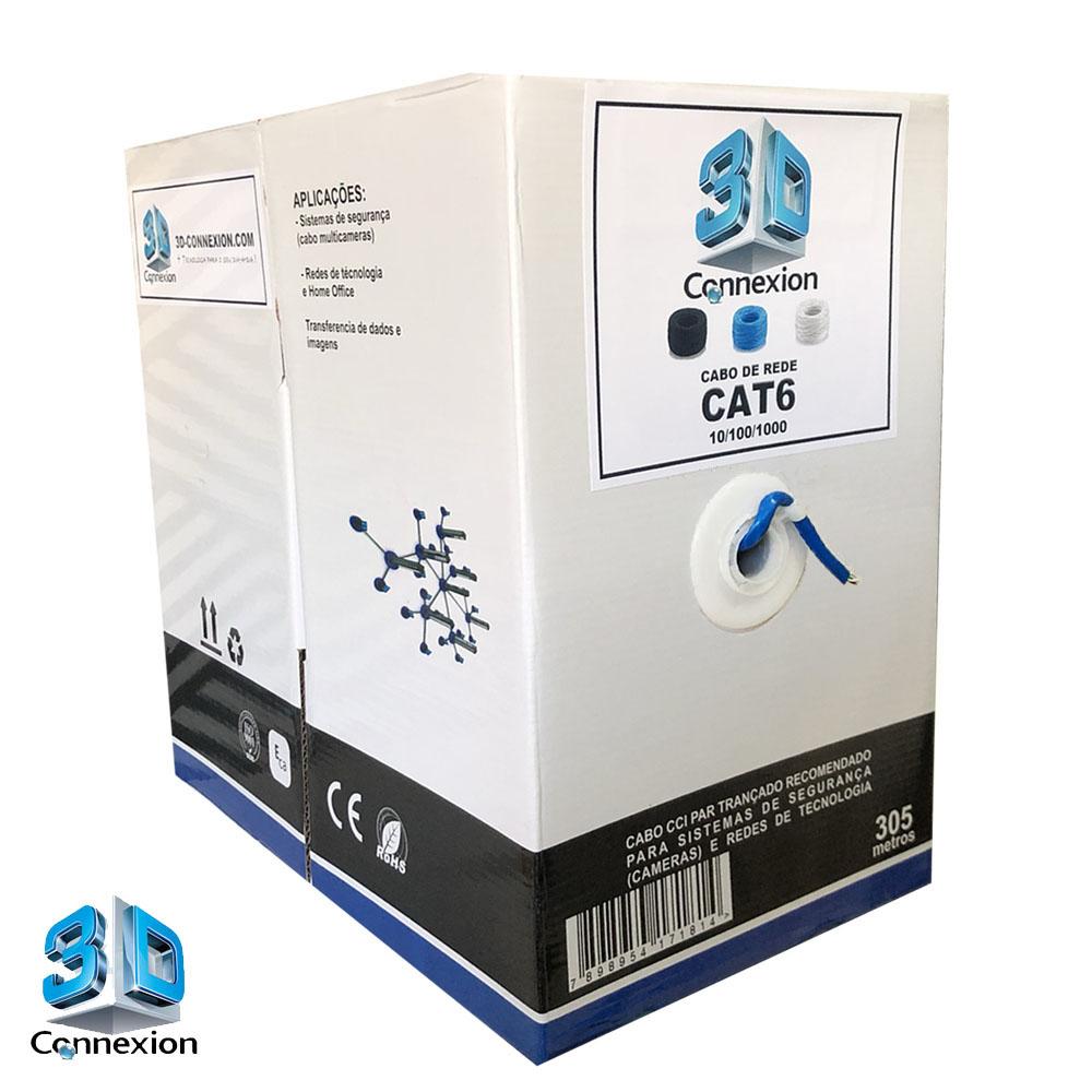 Caixa Cabo de Rede CAT6 305m CCI 10/100/1000 - Azul (3DRJ1466)