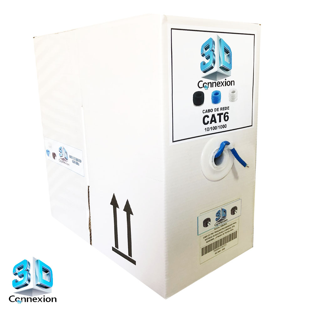 Caixa Cabo de Rede Gigabit CAT6 305m 8x23AWG trançado - Azul (3DRJ1464)