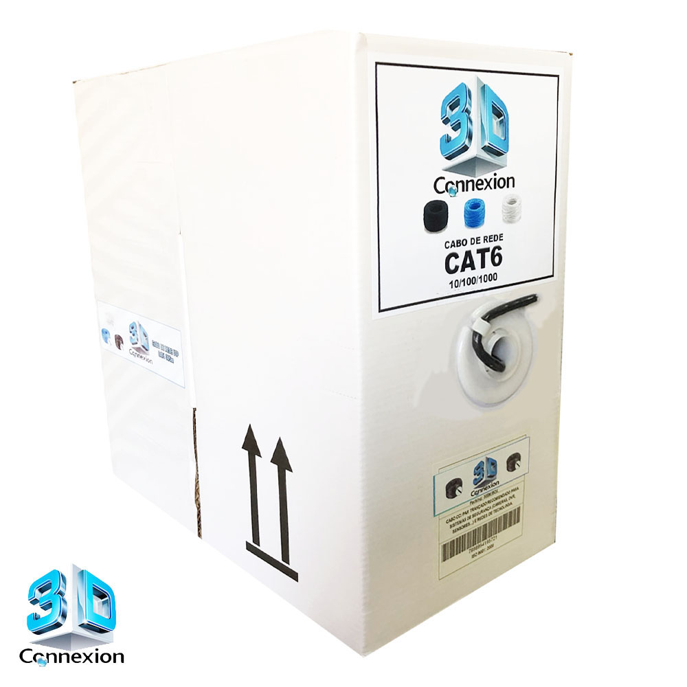 Caixa Cabo de Rede Gigabit CAT6 305m 8x23AWG trançado - Preto (3DRJ1465)