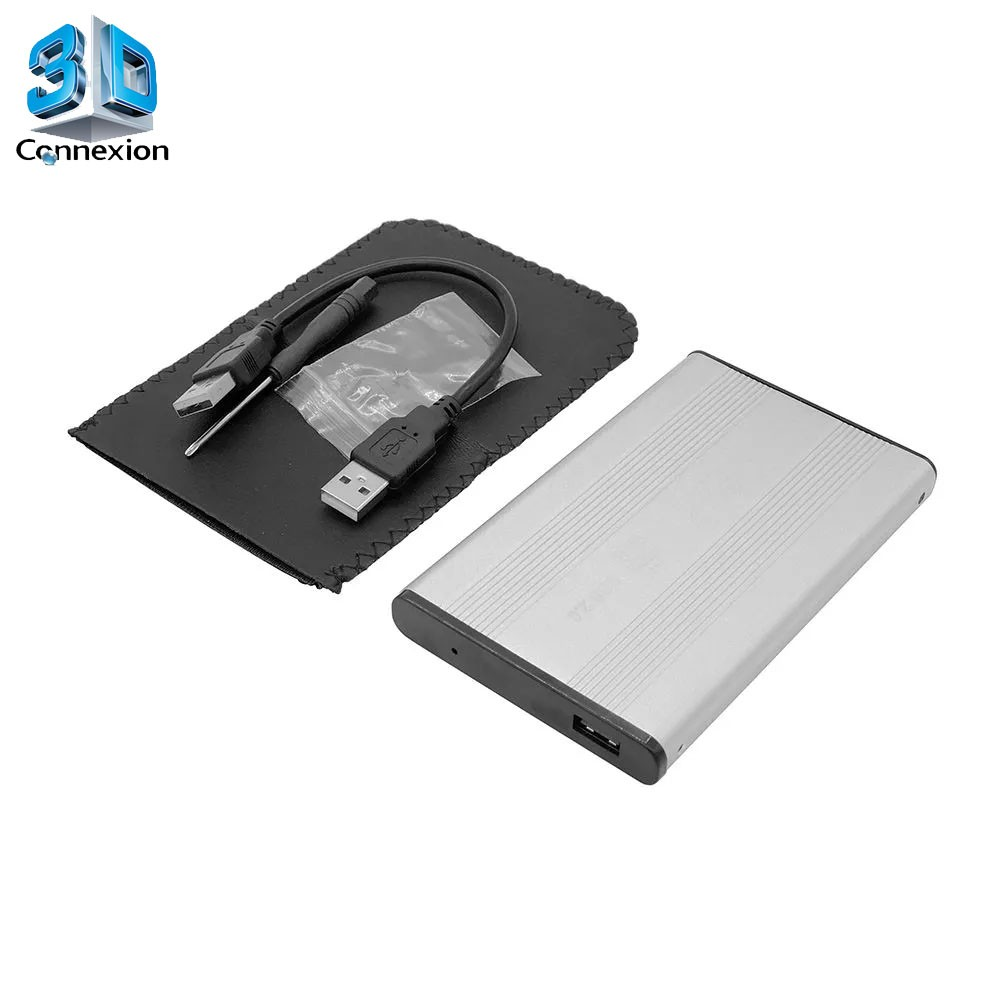 Case HD SSD até 2TB 2.5 SATA USB 2.0 em alumínio (3DRJ1332)