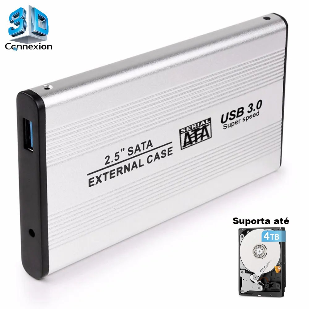 Case HD SSD até 4TB 2.5 SATA USB 3.0 em alumínio (3DRJ1338)