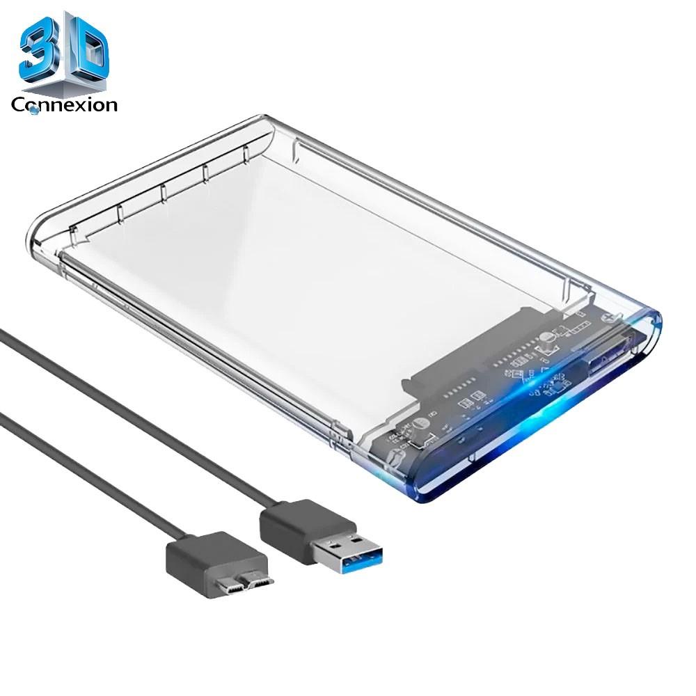 Case para HD 2.5 USB 3.0 em Acrilico até 3Tb- 3DConnexion