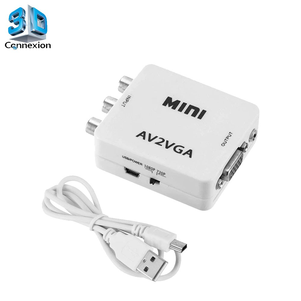 Conversor adaptador AV RCA para VGA - 3DConnexion