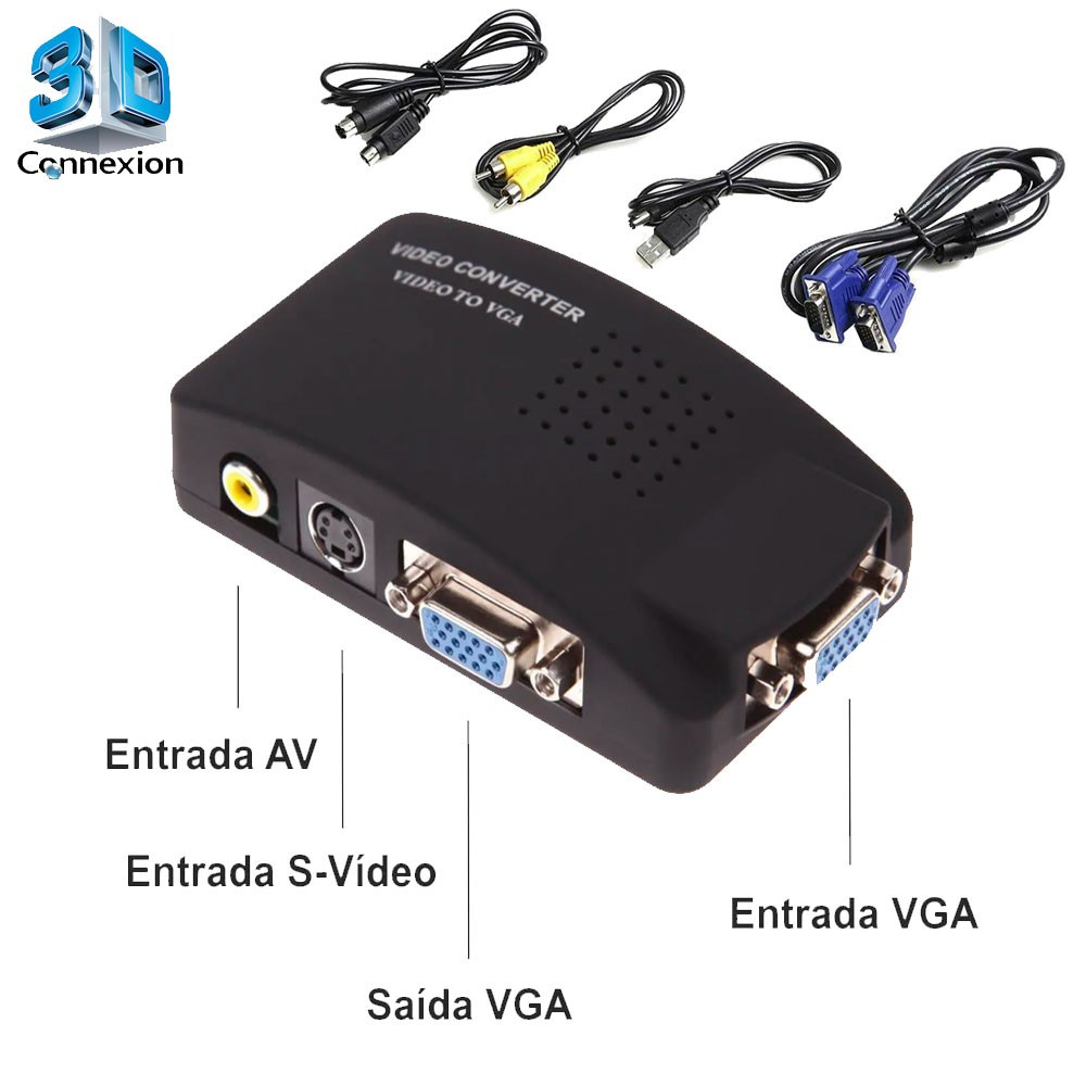 Conversor adaptador AV RCA para VGA com fonte - 3DConnexion