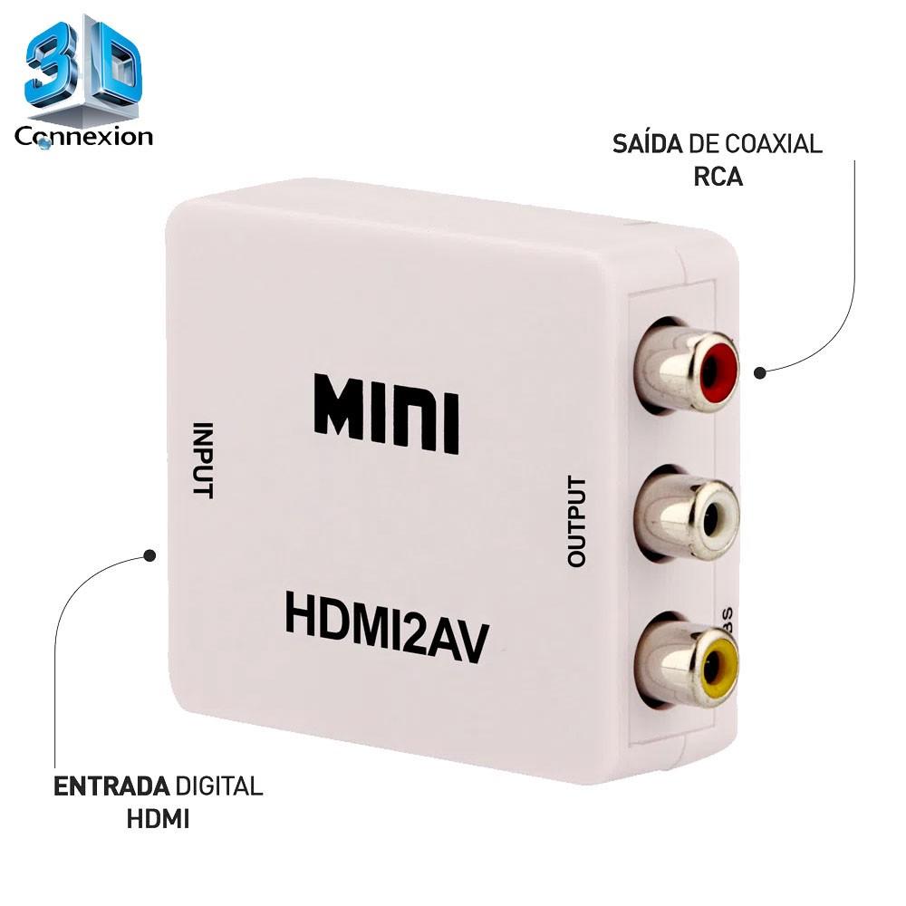 Conversor adaptador HDMI para AV RCA - 3DConnexion