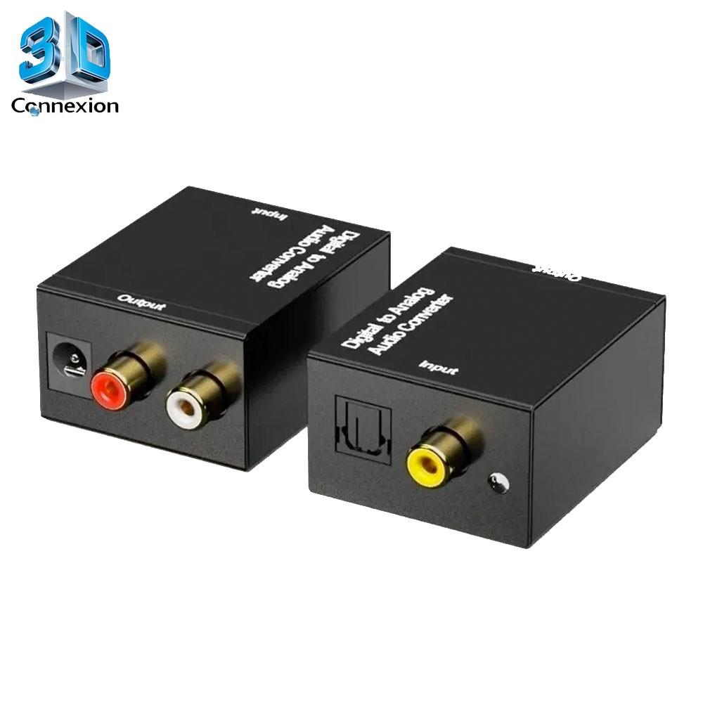 Conversor de Áudio digital Toslink para Analógico RCA - 3DConnexion