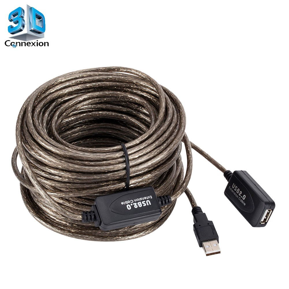 Extensor USB 2.0 ( Macho x Fêmea ) de 20 metros com repetidor ativo - 3DConnexion