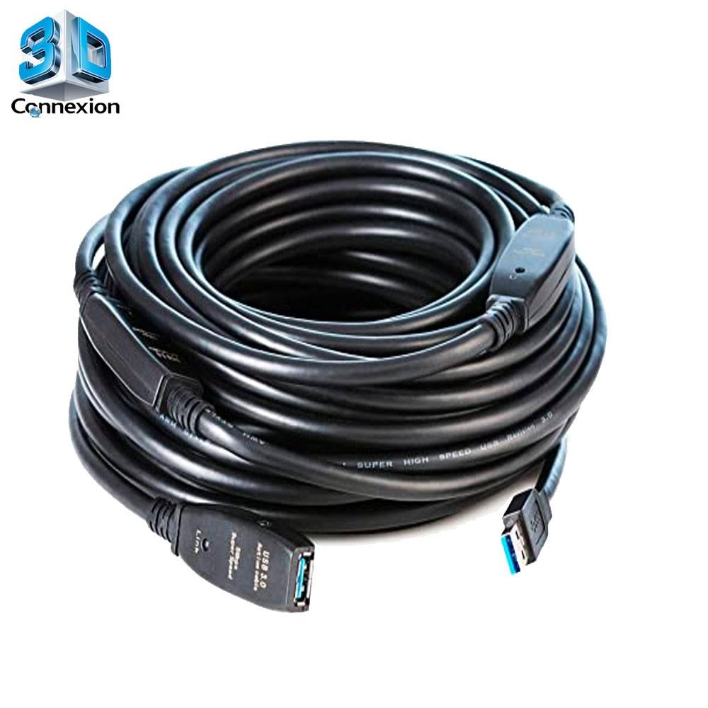 Extensor USB 3.0 20 metros com repetidor ativo e fonte de alimentação 3DConnexion - compatível com Webcam, HD Externo e outros