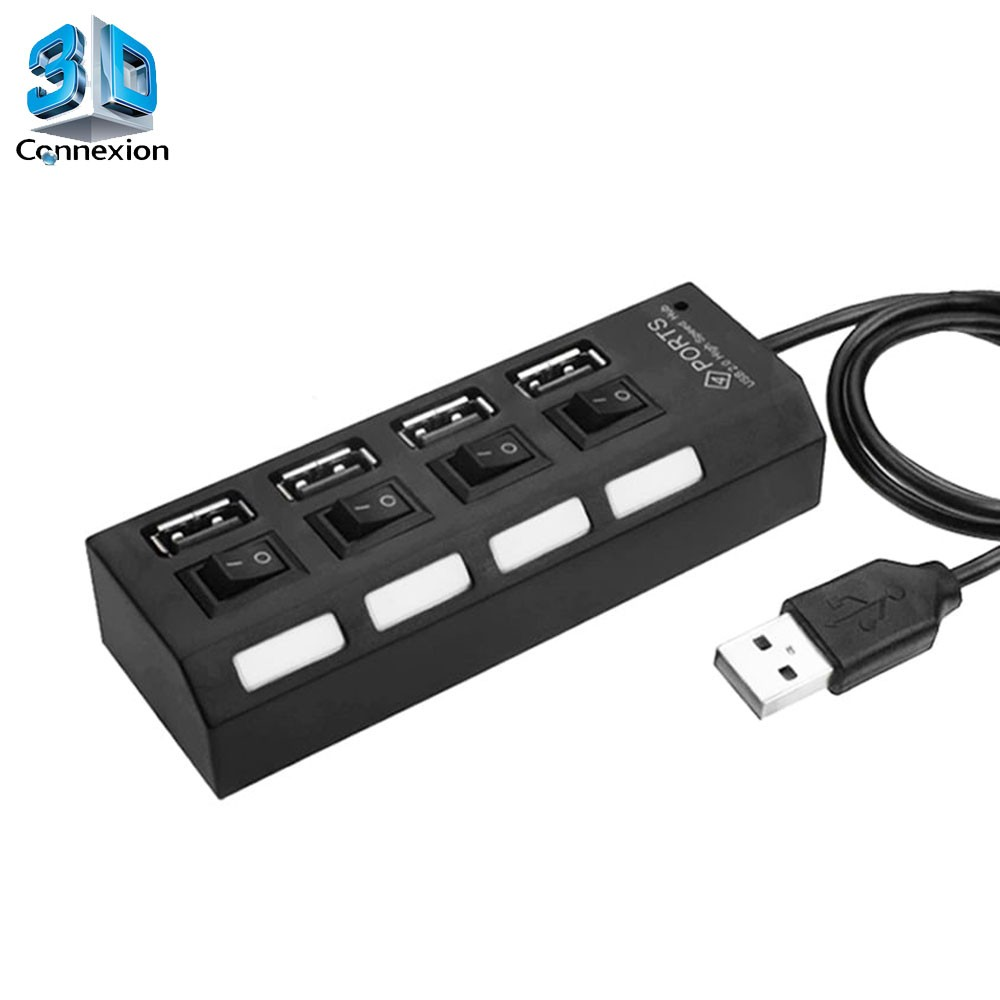 HUB USB 2.0 4 Portas com Chave liga/desliga (3DRJ2366)
