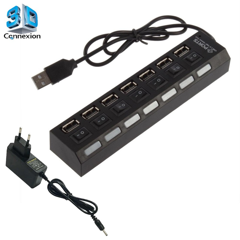HUB USB 2.0 7 Portas Ativo com Chave liga/desliga e fonte de alimentação (3DRJ1367)
