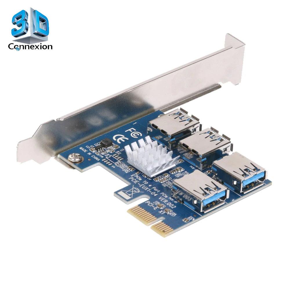 Placa controladora PCI Express X1 para 4 portas PCI Express X1 * USB ( 3DRJ1512 )