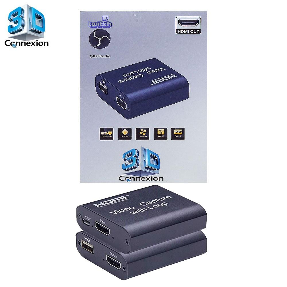Placa de captura USB 2.0 com Saída HDMI para Live streaming 3DConnexion - Transmita no PC e veja na TV ou Monitor simultaneamente