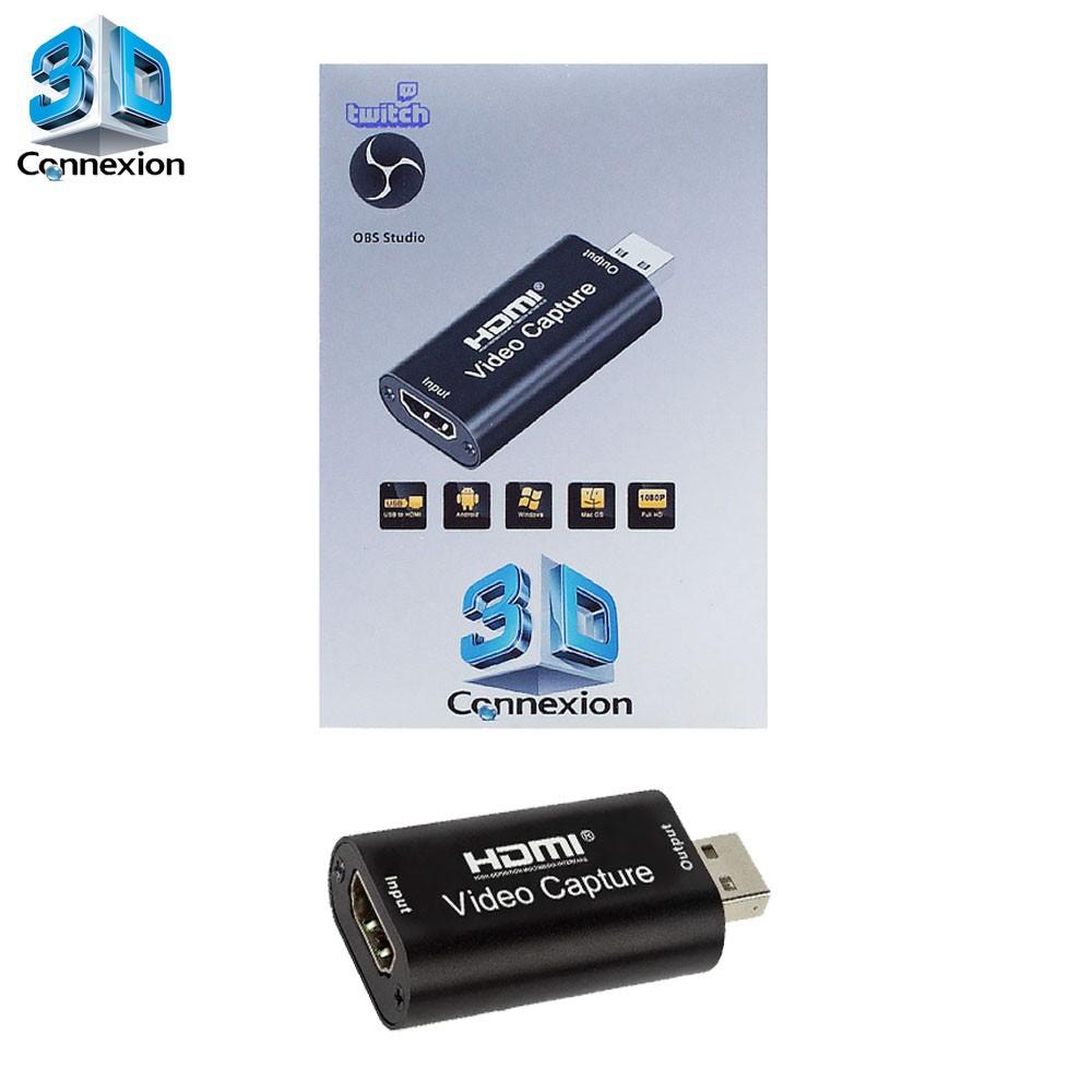 Placa de captura USB 2.0 Live streaming 3DConnexion - Perfeita para fazer suas transmissões ao vivo !