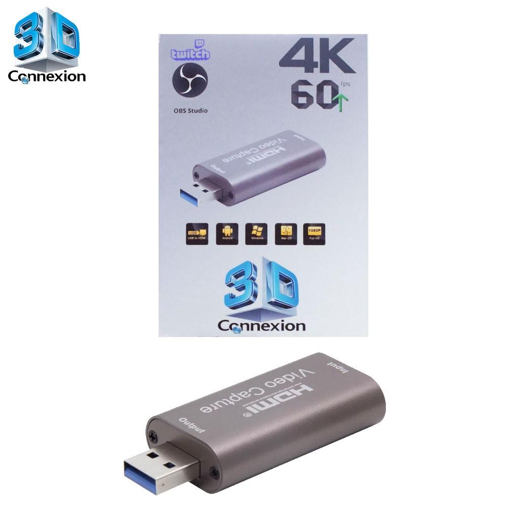 Placa de captura USB 3.0 1080p 60Hz / 60FPS Live streaming 3DConnexion - Perfeita para fazer suas transmissões ao vivo !