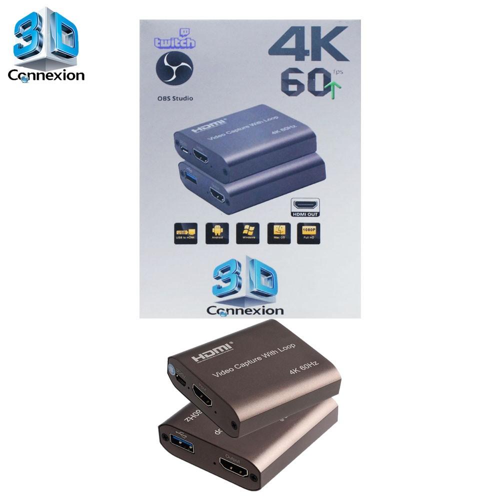 Placa de captura USB 3.0 com Saída HDMI para Live streaming 3DConnexion - Transmita no PC e veja na TV ou Monitor simultaneamente