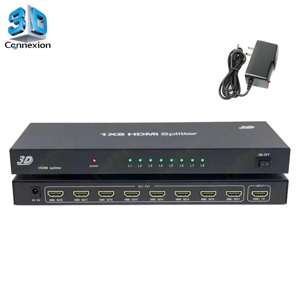Splitter HDMI 1x8 com fonte Ativo ! - 3DConnexion