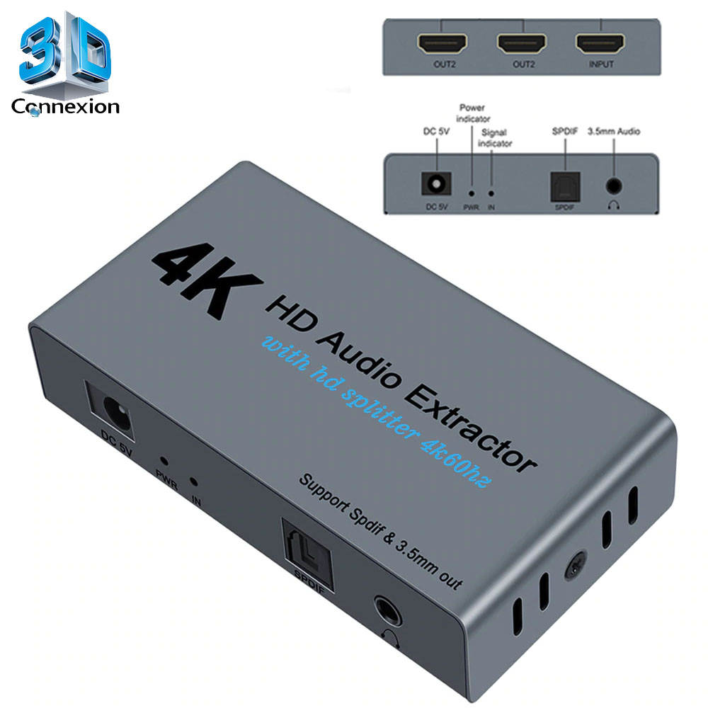 Splitter HDMI 2.0 1x2 com extrator de audio (3DRJ1441)
