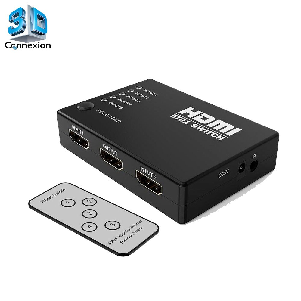 Switch HDMI 1x5 com controle remoto - 3DConnexion