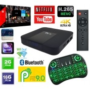 Tv Box TX9 com BLUETOOTH Android 9 e ALICE UX Wifi Dual  + Teclado Led