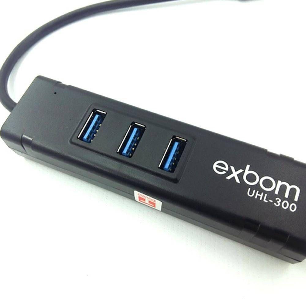 HUB USB 3.0 COM 3 PORTAS E ADAPTADOR GIGABIT ETHERNET RJ-45