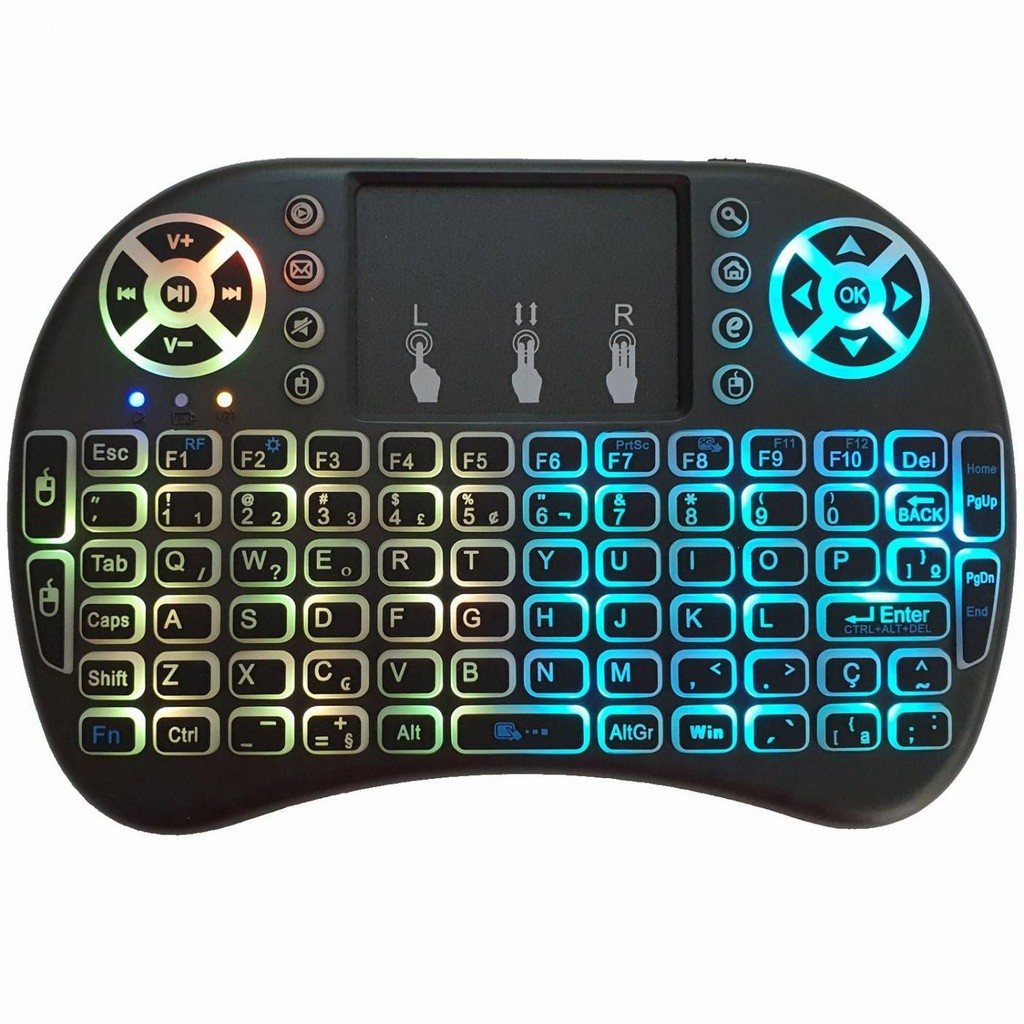 Mini Teclado MULTI COLOR LED Sem Fio Wirelles P/ Tvbox E Smart Tv