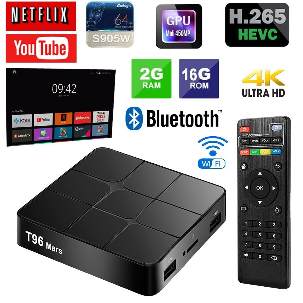Tv Box T96 com Bluetooth Android 7.1.2 Quadcore 2gb/16gb