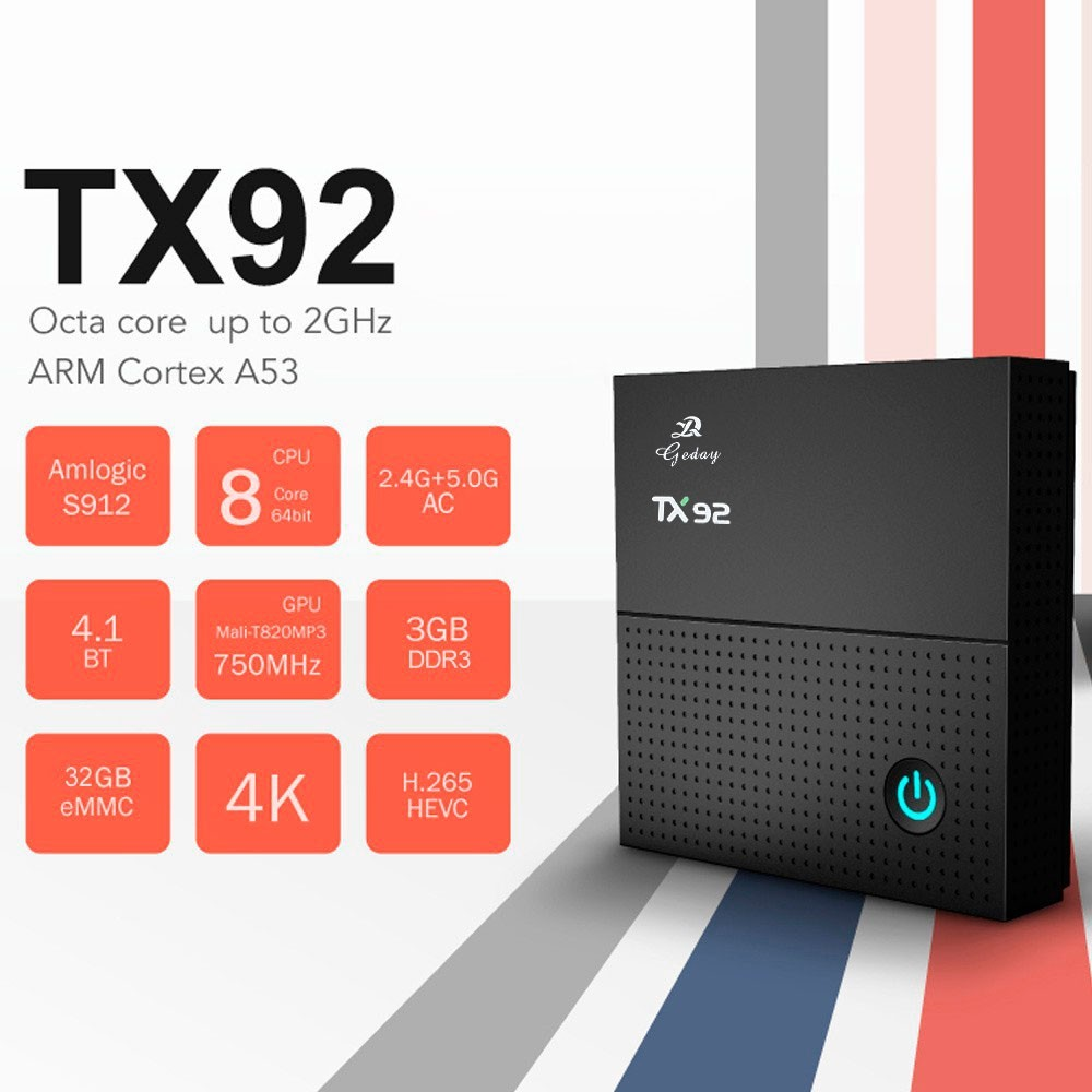 Tv Box TX92 4k Octacore 3gb/32gb Bluetooth Android 7.1 + Controle FOYU FO-618