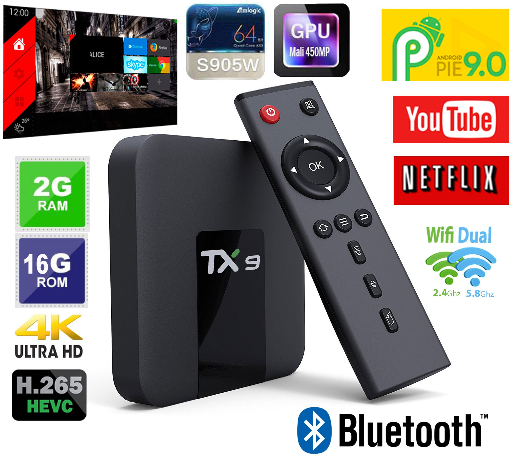 Tv Box TX9 com BLUETOOTH Android 9 ALICE UX e WIFI DUAL BAND