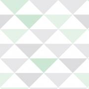 Papel de Parede Geométrico Triângulos Verde e Cinza