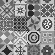 Papel de Parede Azulejo Marroquino Cinza, Preto e Branco