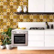 Papel de Parede Azulejo Marroquino Tons Marrom e Amarelo