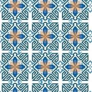 Papel de Parede Azulejo Português em Tons de Azul, Branco e Laranja