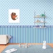 Papel de Parede Baby Listras e Coroas Azul