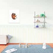 Papel de Parede Baby Ursinhos E Listras Azul Claro E Dourado
