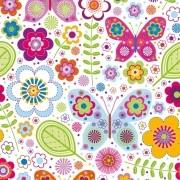 Papel de Parede Borboletas e Flores Coloridas