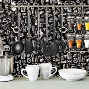 Papel de Parede Cafeteria Branco sobre Preto