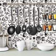 Papel de Parede Cozinha Coffee Preto Fundo Branco