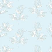 Papel de Parede Floral Azul Claro e Branco