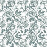Papel de Parede Floral Azul Desenhado