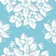 Papel de Parede Floral Branca no Azul