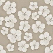 Papel de Parede Floral Branco e Marrom Vintage