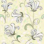 Papel de Parede Floral Branco e Tons de Verde