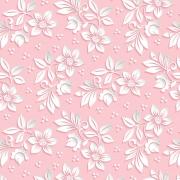 Papel de Parede Floral Branco Fundo Rosa
