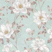 Papel de Parede Floral Branco Fundo Verde Água