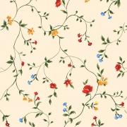 Papel de Parede Floral Colorido Fundo Salmão
