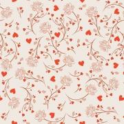Papel de Parede Floral Corações e Rosas