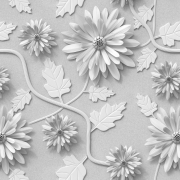 Papel de Parede Floral Elegance Cinza