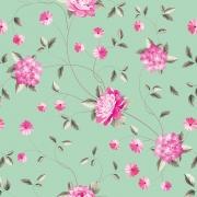 Papel de Parede Floral Flor Rosa no Fundo Verde