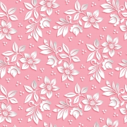Papel de Parede Floral Flores Brancas Fundo Rosa